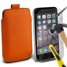 Naranja Pu Cuero tire Tab Funda Pouch & Vidrio Para Apple Iphone 6 Plus