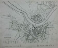 DRESDEN CITY PLAN, GERMANY, original antique map, SDUK, 1844