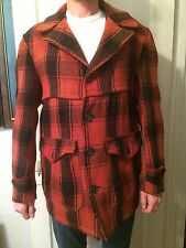 VTG 1930s 1940s HERCULES red plaid coat jacket hunting MACKINAW