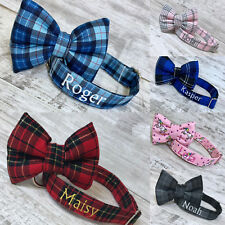 PERSONALISED DOG COLLAR UK EMBROIDERED NAME/NUMBER DETACHABLE BOW XS S M L XL