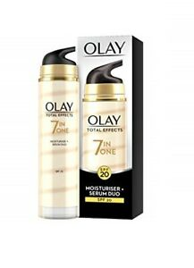 Olay Total Effects 7 Skin Benefits In 1 SPF 20 Moisturiser + Serum Duo 40ml -New