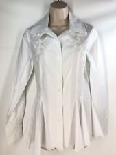 Roja Western Spanish Shirt Embroidered White Pleats Long Sleeve XS Extra-Small
