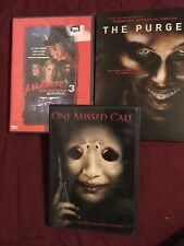 Lot of 3 Dvd Movies Horror Nightmare on Elm St 3, The Purge, One Missed Call