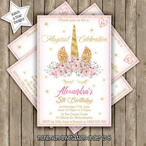 MAGICAL FLORAL GOLD UNICORN BIRTHDAY PARTY PERSONALISED INVITATION x 1