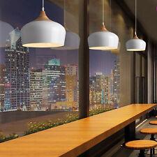 Modern Lighting Pendant Light w/Bulb Wood Pattern Dome Ceiling Lamp White/Black