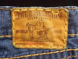Men's TRUE RELIGION Jeans  ---  37 x 34  ---  BILLY SUPER T  ---  Marked 34