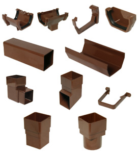 SQUARE LINE STATIC CARAVAN BROWN GUTTER DOWNPIPE CHANNEL CLIPS BRACKET ALL PARTS