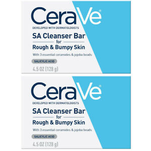 CeraVe SA Cleanser Bar Rough Bumpy Skin Ceramides Salicylic Acid 4.5oz 2 Pack