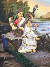 Beautiful piece of Hand painted Goddess Saraswati Art Oil Painting on Canvas