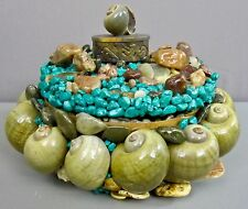 AMERICAN FOLK ART__Massive Shell & Stone Encrusted Round Wood Box_ExC_SHIPS FREE