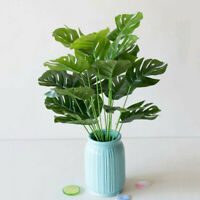 Indoor Artificial Plant Leaf Fake Potted Green Monstera Bush Home Office Decors