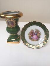 Signed Vintage Limoges Porcelain Miniature Urn & Plate Courting Couples