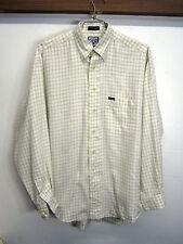 vtg Faconnable Shirt Dress Shirt off-white check cotton btn down sz L USA made