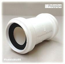 "Polypipe 40mm 1-1/2 ""Universal Push Fit rifiuti TUBO accoppiatore connettore uwc40 BIANCO"