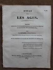THESE FACULTE MEDECINE MONTPELLIER. ESSAI SUR LES AGES. C. ALPHANT
