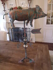 LARGE Handcrafted 3D 3Dimensional Full Body PIG Weathervane Copper Patina Finish