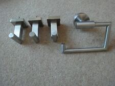 3 x Stainless Steel hooks and toilet roll holder