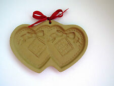 1988 Shortbread Cookie Mold Brown Bag - Double Hearts Design Valentines Day EUC