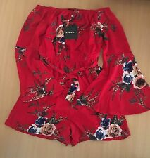 PARISIAN Red Floral Print Bell Sleeve Bardot Playsuit Party Holiday BNWT