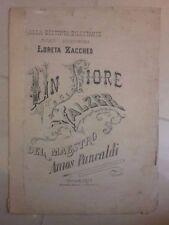 SPARTITO MUSICALE UN FIORE LORETA ZACCHEO VALZER PANCALDI 1879 MUSICA