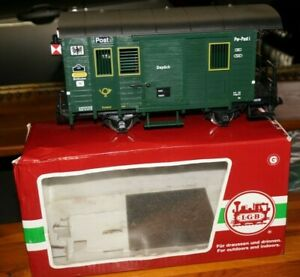 RF32] LGB 32190 Gauge G Luggage / Mail Wagon With Tail Light Ob Super Condition