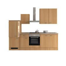 Küchenzeile Einbauküche Küchenblock Elektrogeräte Kühlschrank 270 cm buche