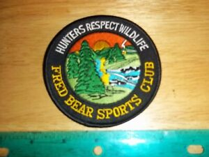 VINTAGE FRED BEAR HUNTERS RESPECT WILDLIFE SPORTS CLUB PATCH Archery hunting bow
