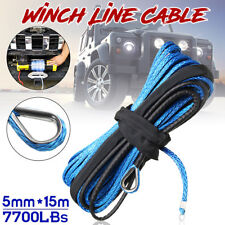 3/16'' x 50' 7700LBs Synthetic Winch Line Cable Rope W/ Sheath ATV UTV Blue