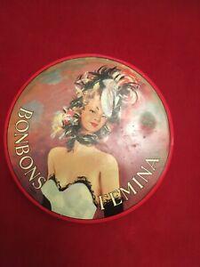Boîte à bonbons Femina  ronde 19 cm diamètre vintage
