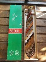 RARE Vintage Pheasant Feathers Necktie Neck Tie in Original Box / Beautiful