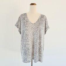 Sussan Plus Size 18 XXL Grey Animal Print 100% Linen Short Sleeve Tee T-Shirt