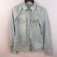 Gap 1969 Chambray Shirt Womens M Pearl Snaps Button Down Blue Denim Striped