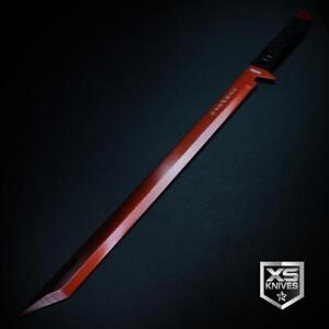 "Epic RED 26"" LASER TANTO Sword Machete Ninja Full Tang Fixed Blade + SHEATH"