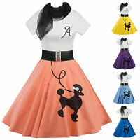 Women Vintage Poodle Printed Swing Evening Party Short Sleeve Rockabilly Dress