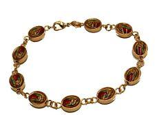 Virgen De Guadalupe Charm 18k Gold Plated 7 Inch Bracelet - Oval Medal Bracelet