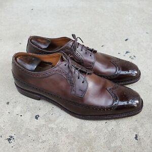 Allen Edmonds LEIDEN Brown Leather Full Longwings sz 11.5 D MENS US