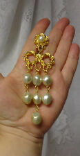 Vintage Haute Couture Runway Long Dangle Tear Drop Pears Knotted ClipOn Earrings