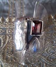 566 Rainbow Garnet Biwa Pearl 925 sterling silver ring sz O/S rrp$89.95