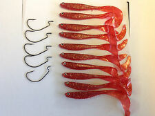 10 x Jerk Baits and 5 x 4/0 Worm hooks Red Curly Tail SoftPlastic Baits Gulp