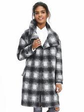 NWOT Banana Republic Plaid Double-Breasted Coat, Black/gray Size M      $348.00