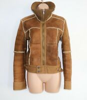 Women's Vintage DIESEL Brown 100% Sheepskin Trucker Jacket Coat Size M