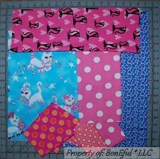 BonEful Fabric COTTON SCRAP QUILT LOT Kitty Cat Pink White Blue S Girl Polka Dot