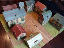 Rare Antique 1897 PRETTY VILLAGE McLoughlin Bros Set 8 building w/ town map G+