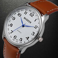 Fashion Men's Watch Business Analog Stainless Steel Leather Strap Wrist Watches