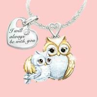Kreativität Schöne Eule Mutter und Kind Liebe Halskette Geschenk Liebhaber A1D8