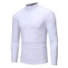 Mens Winter Warm Mock Neck Basic Plain T-shirt Blouse Pullover Long Sleeve Tops