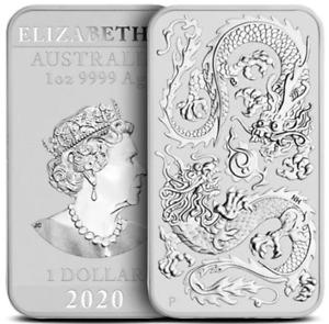 2020 - 1 OZ .999 PURE SILVER BU COIN - AUSTRALIAN DOUBLE DRAGON BAR IN STOCK