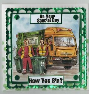 SQUARE HANDMADE DECOUPAGED REFUSE LORRY THEMED  ON YOUR SPECIAL DAY CARD