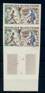 Stamp Day 1961 Postal Transport Ivory Coast imperforated MNH stamp pair