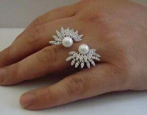 BURST OPEN PEARL RING W/ WHITE PEARLS & ACCENTS/SZ 5-9 /925 STERLING SILVER